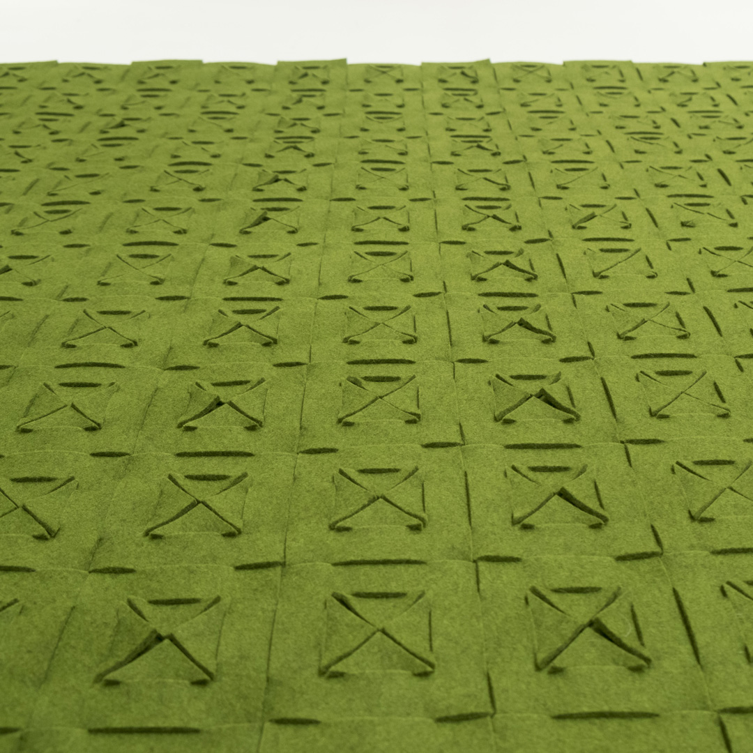 QVILT pure, green 100% wool felt in a square pattern with folded edge.